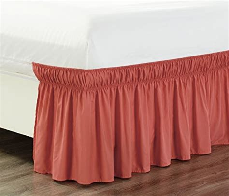 coral bed skirt wrap around 18 quot inch fall coral orange ruffled elastic