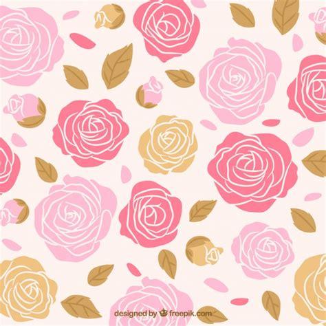 imagenes de flores dibujadas a mano fondo de rosas dibujadas a mano con hojas descargar