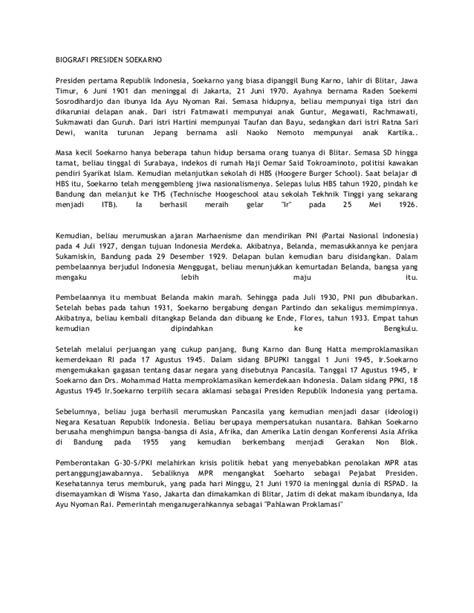 contoh biography soekarno dalam bahasa inggris biografi presiden ir soekarno