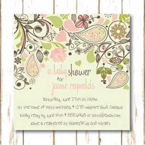 paisley garden baby shower invitation for baby
