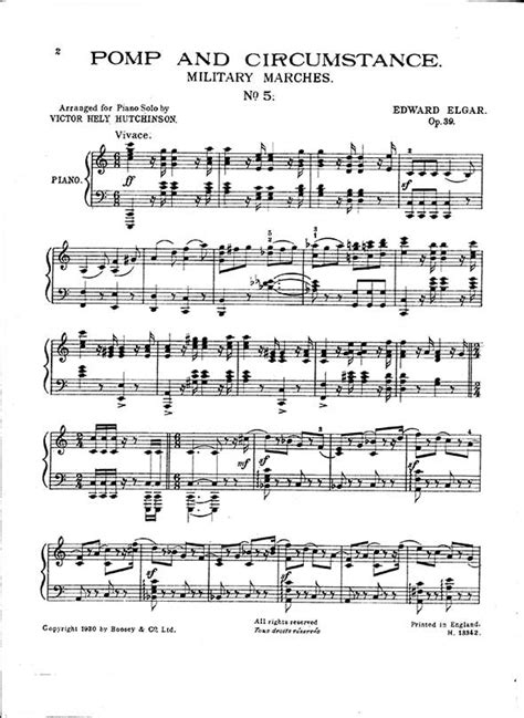 pomp circumstance and sheet music class of 2014 edward elgar piano sheet music