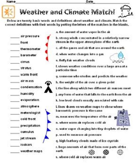 Weather And Climate Worksheets by Activities Definitions And Language On