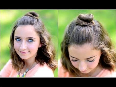 cute down hairstyles youtube diy half up bun easy hairstyles youtube