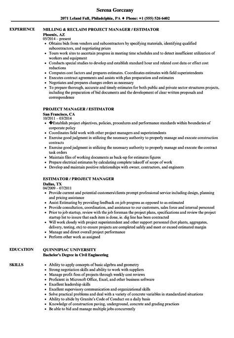 Civil Estimator Cover Letter by Resume Civil Estimator Exles Human Resources Daily