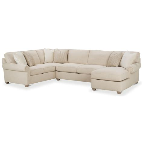 Traditional Sectional Sofa Rowe Traditional Three Sectional Sofa With Chaise Hudson S Furniture Sectional