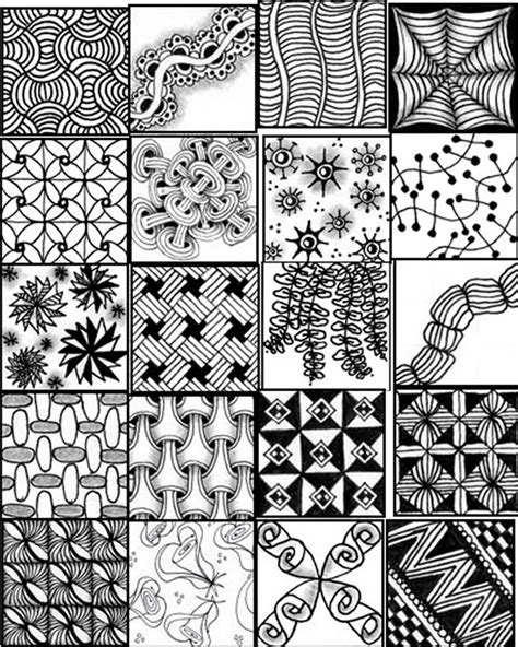 pattern drawing pdf zentangles patterns free printables printable sheets