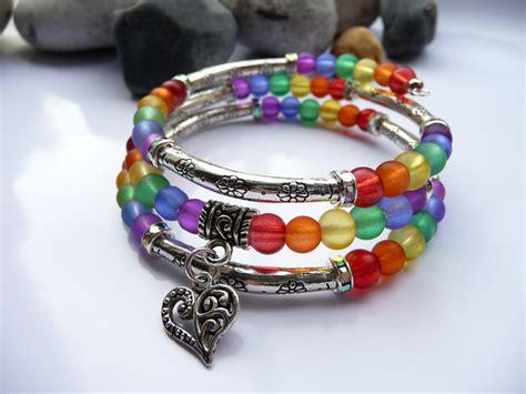 rainbow memory wire bracelet jewelry fleur ideas