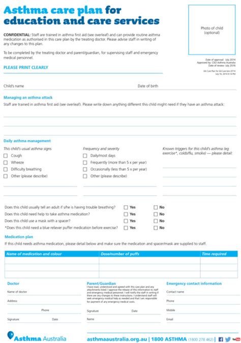 asthma care plan template asthma plan exles national asthma council