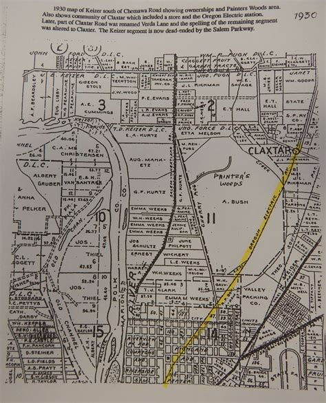 map of keizer oregon 1930 map of keizer south of chemawa rd with landowners