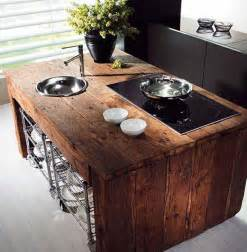 Wood Island Kitchen by 15 Reclaimed Wood Kitchen Island Ideas Rilane