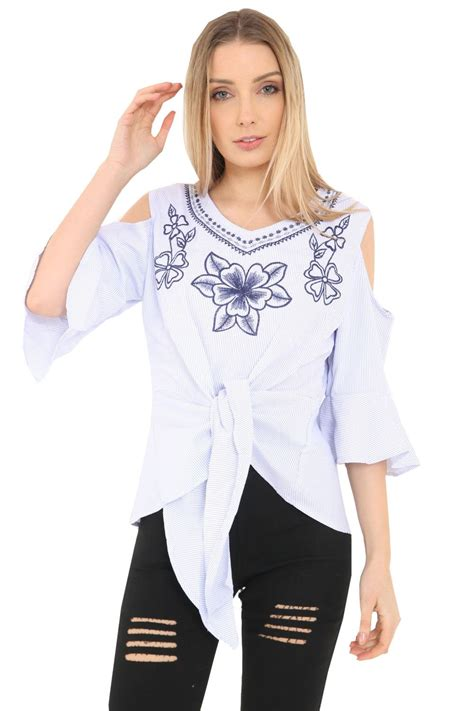 Wst 18768 Embroidered Bell Sleeve womens front tie cold shoulder floral