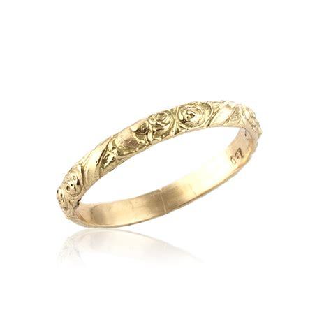 Wedding Bands Engraved by Vintage Inspired Floral Engraved Wedding Band In 14k Gold