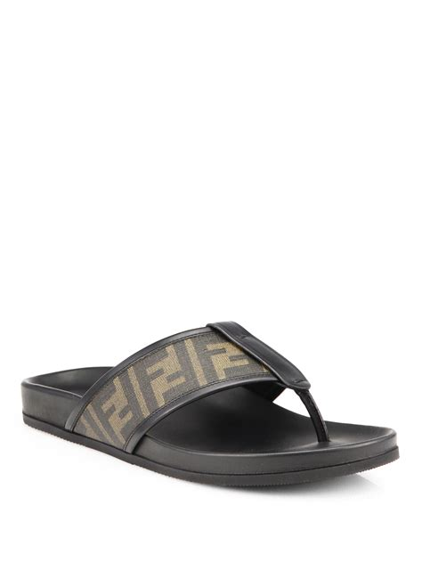 fendi sandals mens fendi zucca logo sandals in brown for lyst