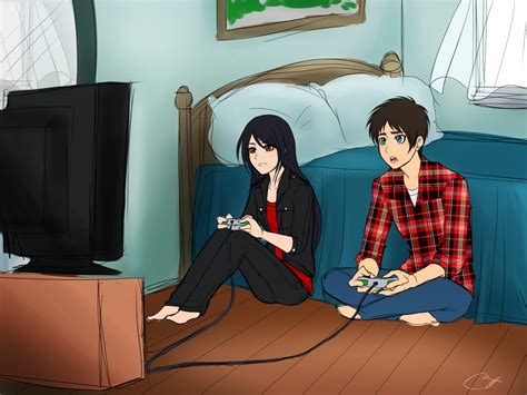 Playing Games Meme - playing video games eren x veena meme art by vhenyfire