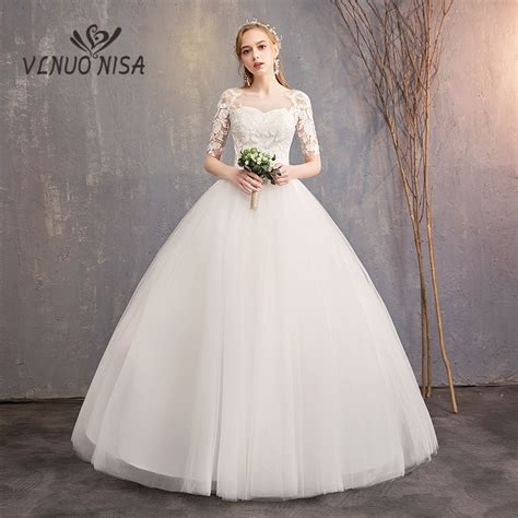vlnuo nisa simple white wedding dress delicate embroidery