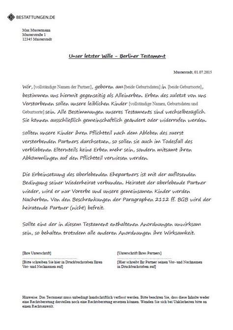 Muster Testament Berliner Testament Muster Pdf Conrandtantstor