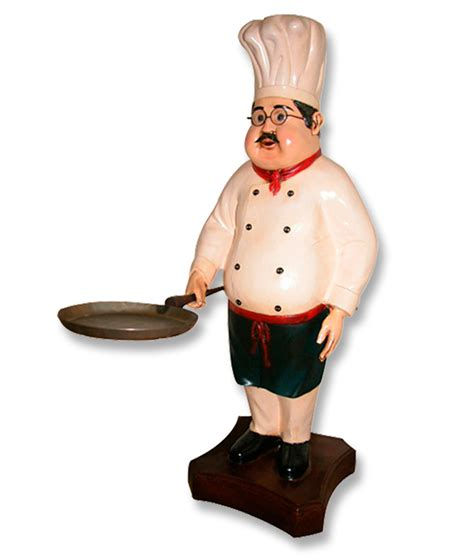 cook with chef statue with skillet pan