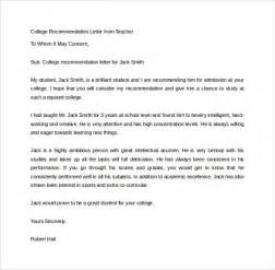 sample recommendation letter for college template design