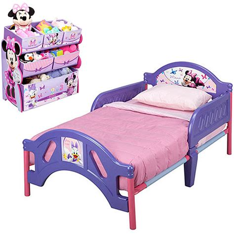 walmart toddler bed bundle disney minnie mouse toddler bed with bonus multi bin toy