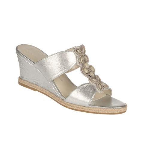 etienne aigner haste wedge sandals in silver lyst