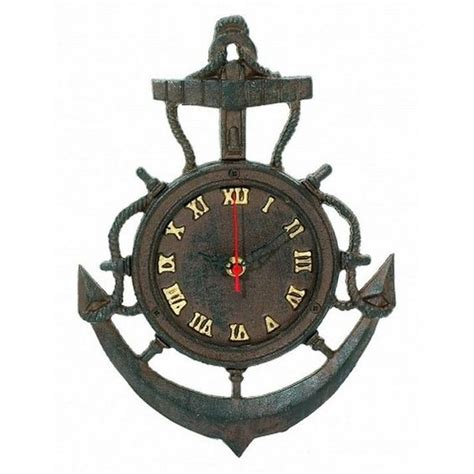 boat steering wheel decor cast iron anchor clock 12 quot antiqued to appear vintage