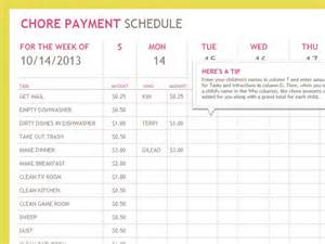payment chart template chore payment schedule future generations