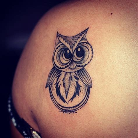 cute owl tattoos bike helmet on left back shoulder