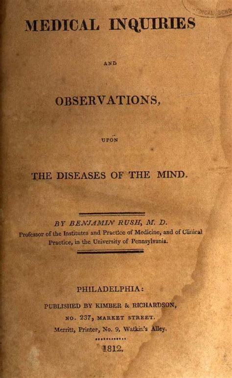 inquiries and observations upon the diseases of the mind classic reprint books benjamin 1745 1813 harvard square library