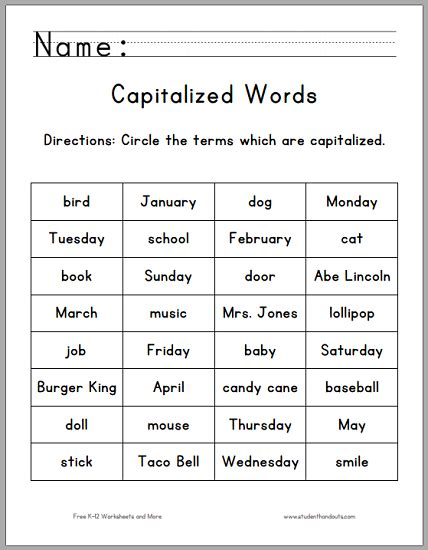 Capitalization Worksheets Pdf by Click Here To Print This Worksheet Pdf File