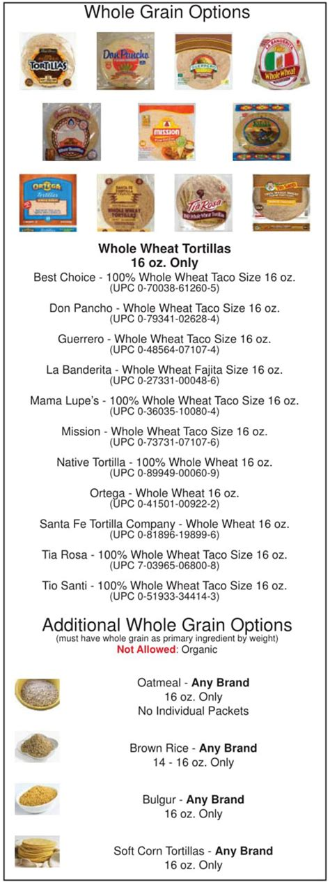 whole grains on wic oklahoma wic food list