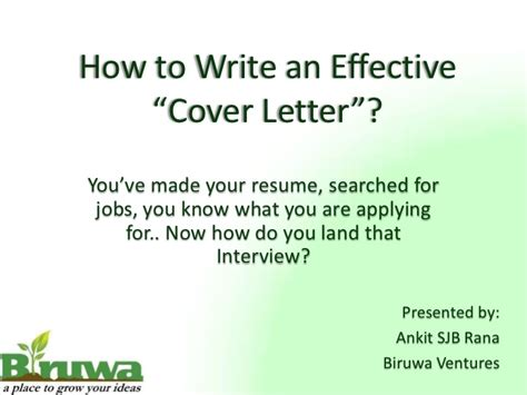 how to present a cover letter cover letter presentation