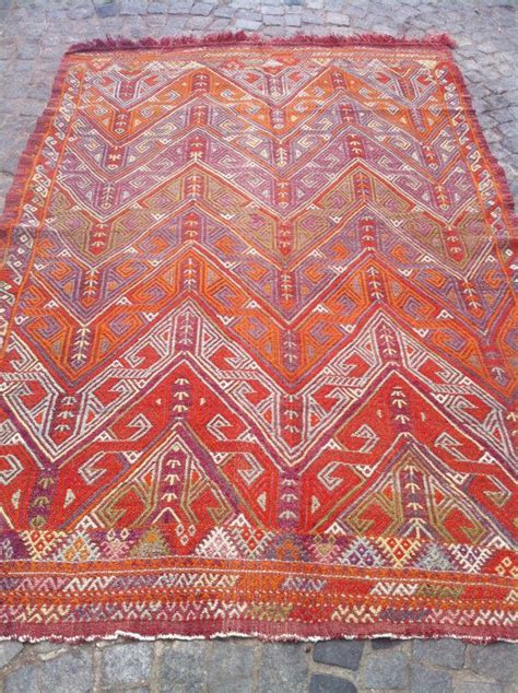 Orange Kilim Rug turkish cicim kilim rug decorative orange kilim rug