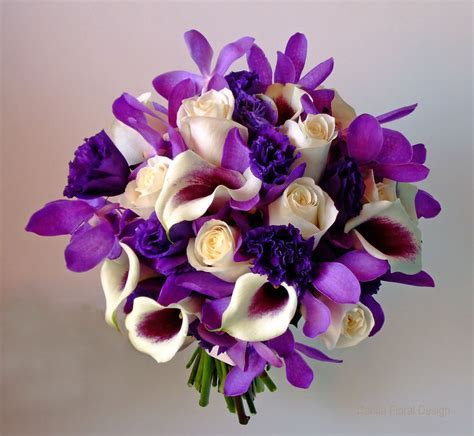 purple and ivory cream white wedding flower bridal party
