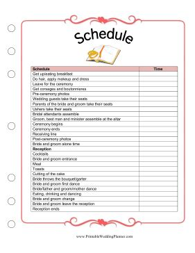 Schedule Sheets Wedding Planner Template
