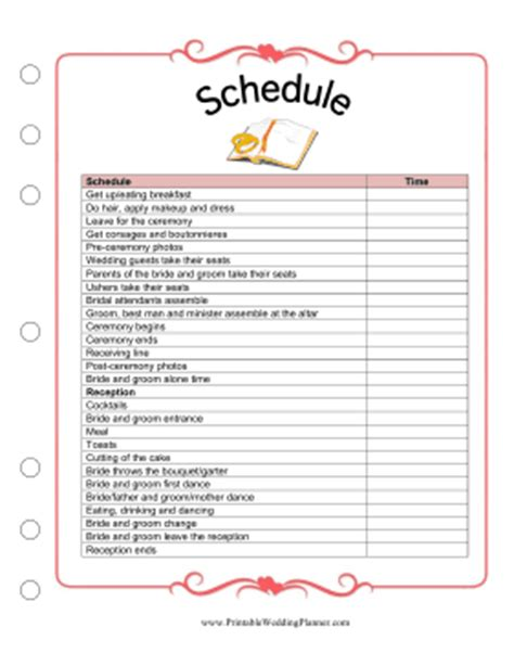 wedding planning schedule template schedule