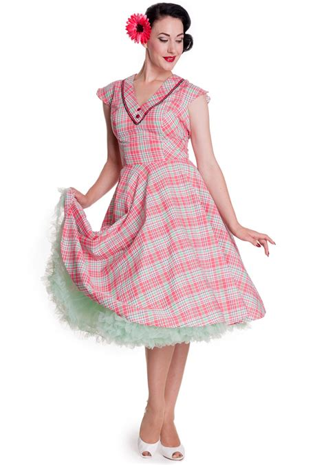 Dress Pink Carol pink mint carol plaid dress by hell bunny original