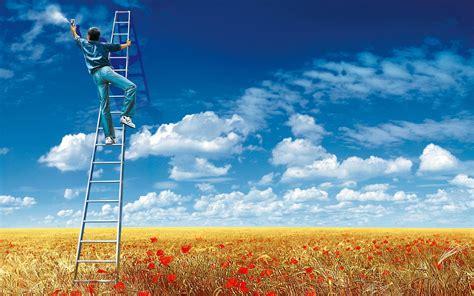 sky clouds field flowers ladders men spray digital