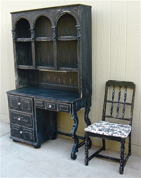 Distressed Desk With Hutch The Backyard Boutique By Five To Nine Furnishings Black Distressed Hutch Desk With Knobs