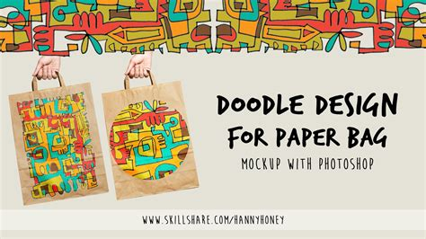 doodle class doodle design for paper bag mockup with photoshop hanny