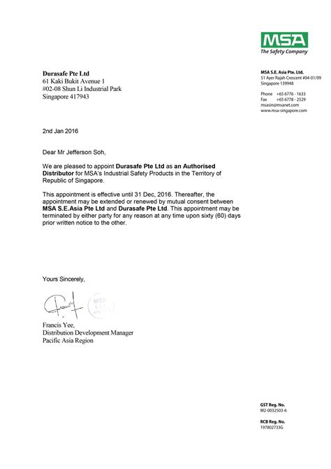 appointment letter format travel agency appointment letter as distributor 28 images best