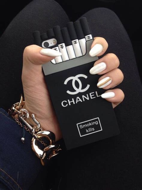 Casing Hardcase Hp Iphone 5s Black Chanel Cigarette X4550 luxury kills cc brand cigaret for iphone 6 5 5s silicone cover cigarette box