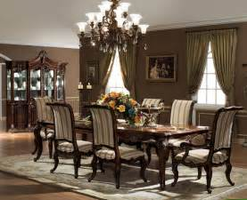 Formal dining room sets with long teak table and classic wooden chairs