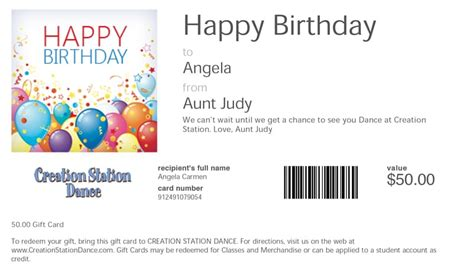Gift Cards Sent By Email - dallas buy gift cards creation station dance