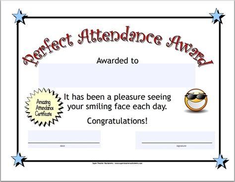 Perfect Attendance Attendance Award Template