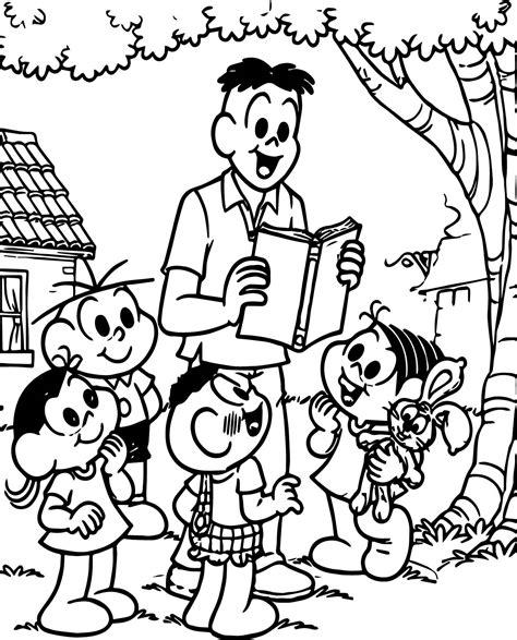 turma da monica teacher reading story book coloring page