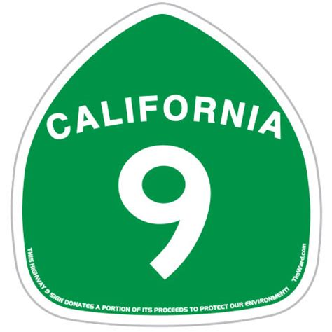Sticker Plat California Santa decal santa highway hwy 9 sticker green by tim ward