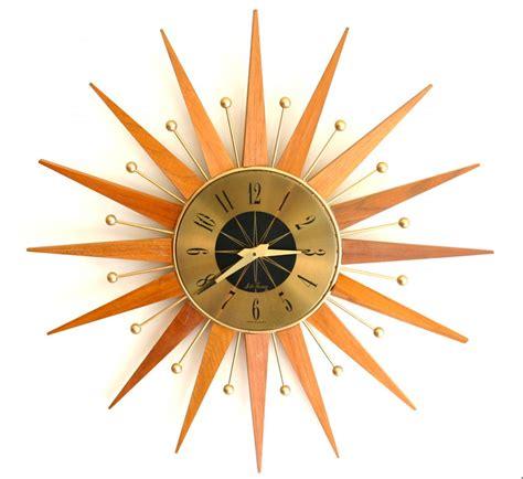 mid century modern wall clocks atomic mid century modern sunburst wall clock