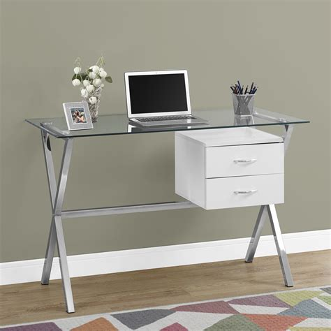 Glass Desk With Storage by Brienne Glass Computer Desk In Glossy White W Wooden Storage Drawers