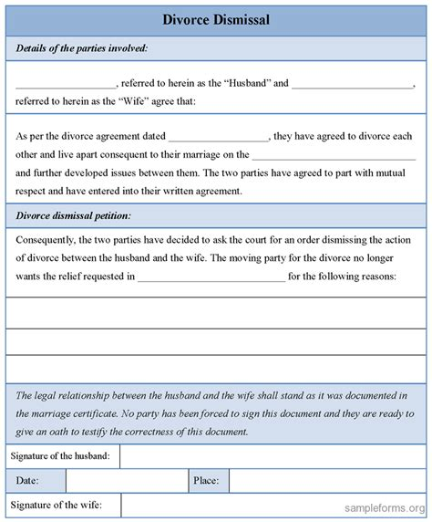 Divorce Dismissal Letter Divorce Dismissal Form Sle Divorce Dismissal Form