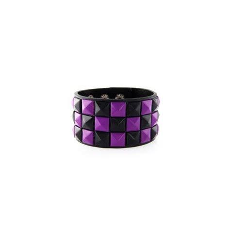 Purple Studed Bracelet purple black checkered studded leather bracelet 2 liked